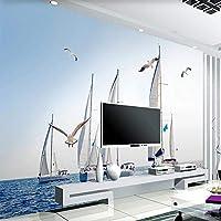 HGFHGD 3D壁紙壁画家の装飾海の航海風景壁画モダンなリビングルームソファテレビ背景壁紙ウォールステッカー