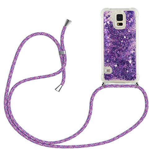 Mkej Glitter liquida Case Colgante movil con Cuerda para Colgar Samsung Galaxy S5 Cuerda Funda, con Correa Colgante - Carcasa Transparente de TPU Cristal Silicona Bling Carcasa [Flor Morada]
