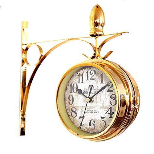 DIEFMJ Continental Timepiece Clock Side Metal Mute Lados Vivos Reloj de Bolsillo de Cuarzo 23CM * 22CM