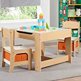 Unique,Sturdy,Smartly Crafted Kids' Wooden Storage Table and Chairs Set,Whiteboard on one Side,Flips Over to Reveal a Chalkboard,Ideal for Classrooms,Art Rooms,Kids Room and Playrooms,Natural