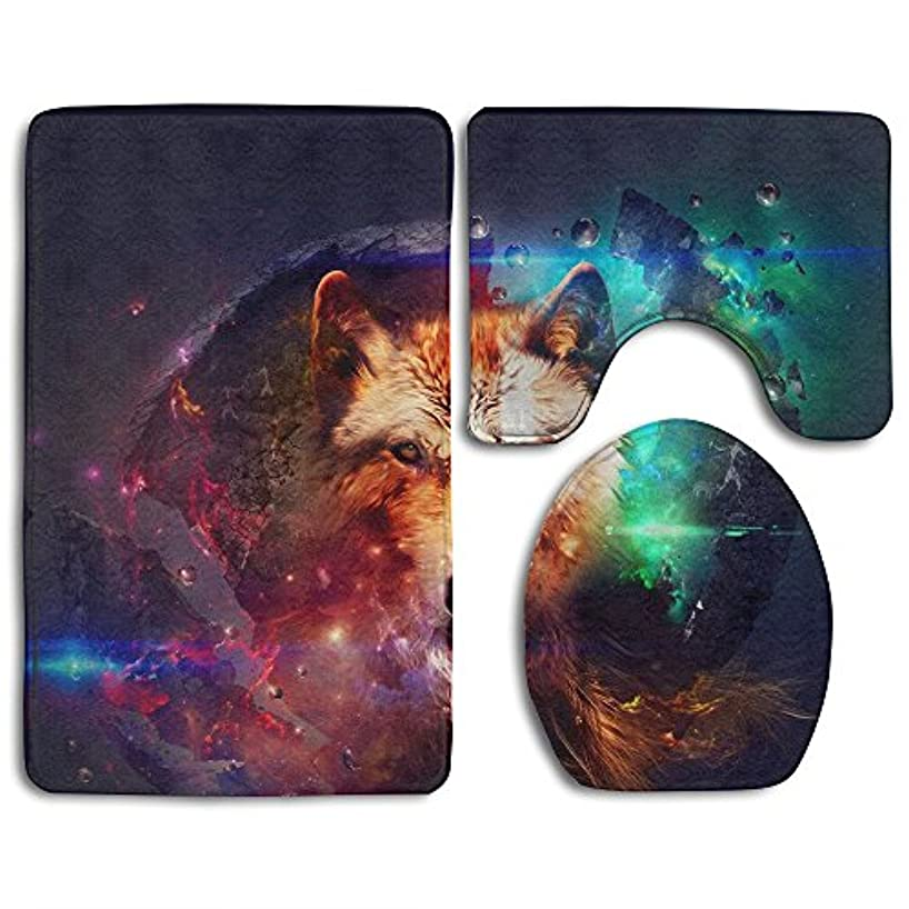 Bathroom Rug Mats Set 3 Piece - Memory Foam Extra Soft Shower Bath Rugs – Contour Mat And Lid Cover - Perfect Combination Of Luxury And Comfort -galaxy Colorful Wolf