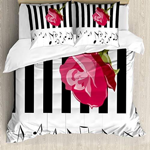 ABAKUHAUS Moderno Funda Nórdica, Rose roja en el Piano, Decorativo, 3 Piezas con 2 Funda de Almohada, 200 x 200 cm, Rosa Blanco Negro
