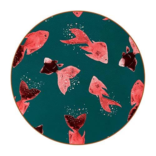 Portavasos Conjunto de 6, Pescado Rojo Posavasos de Cuero de Microfibra Antideslizante de Doble Cara, Diseño Premium Taza de Bebida de café 11cm