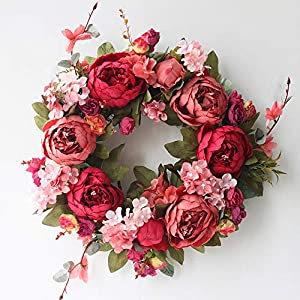 SISJULY Peony Flower Wreath for Front Door Silk Artificial Floral Wreath Handmade Spring Garland Wreath for Fireplace Door Wall Windows Farmhouse Wedding Party Office Home Decor