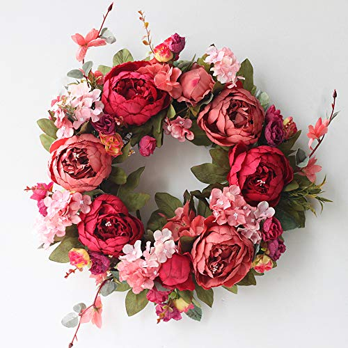 SISJULY Door Wreath Artificial Burgundy Peony Flower Wreath Handmade 16' Floral Wreath Spring Garland for Front Door Wall Wedding Party Office Home Decor