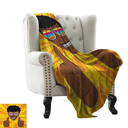 LsWOW Beschwerte Decke für Kinder, Afro-Stil, Hippie-Mann mit bunter Sonnenbrille,...
