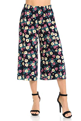 Auliné Collection Womens Pleated High Waist Wide Leg Cropped Capri Culotte Pants - Rose Garden Floral