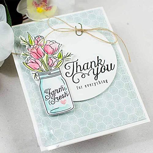 Yuanrui Stanzschablone für Blumen, Vase, Zaun, Metall, für Bastelarbeiten, Scrapbooking, Prägung, Papierkarten, dekorative Bastelvorlage