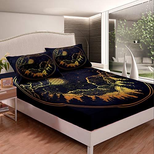 Juego de sábanas bajeras con diseño de estrella y luna, para niños, niñas, adolescentes, bosques galaxias, juego de cama de montaña con círculo dorado, 3 unidades, tamaño doble