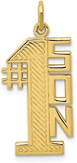 10k Yellow Gold Lined Design #1 Son Pendant Charm Necklace Fine Jewelry For Women