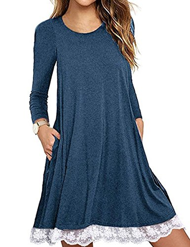 Halife Womens Comfy Swing Tunic Dress Long Sleeve Pocket Solid T Shirt Dress,01-blue,X-Large