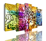 DekoArte 533 - Cuadros Modernos Impresión de Imagen Artística Digitalizada | Lienzo Decorativo para Tu Salón o Dormitorio | Estilo Abstractos Arte Árbol de la Vida de Gustav Klimt | 5 Piezas 150x80cm