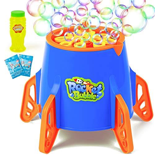 MutoToy Máquina de burbuja, soplador automático de burbujas de cohete 2500+ burbujas por minuto para fiesta al aire libre de los niños