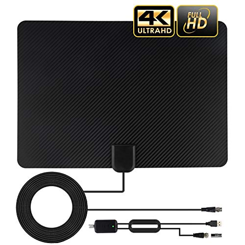 TV Antenna, Amplified HD Digital TV Antenna Long 120-150 Miles Range, Support 4K 1080P Fire TV Stick and All Old TV for Local Channels, Smart Amplifier Signal Booster and 13 Ft Coax Cable