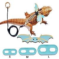 爬虫類用リーシュ レザーハーネスリード トカゲ ひげドラゴン牽引ロープ 調節可能 牽引散歩 SML 3パック ブルー