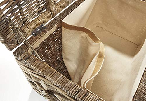 Truhe Korbtruhe Sitztruhe – Rattan – grau – mit Textil – 70x45x40 cm - 6