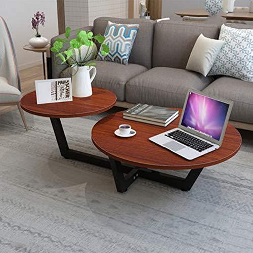 Zaixi Table Basse Nordique/Mini Table Basse Minimaliste Moderne/Table Ronde Simple/Table de Salon / 50 * 90 * 40cm Forte capacité portante (Couleur : White Legs+Teak)