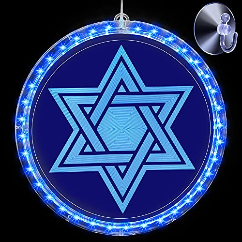 Hanukkah Decoration Light, Blue Star of David Chanukah LED Window Light Battery Operated Lights for Jews Judaism Synagogue Passover Shabbat Christmas Home Ornament Indoor Outdoor (Hexagram)
