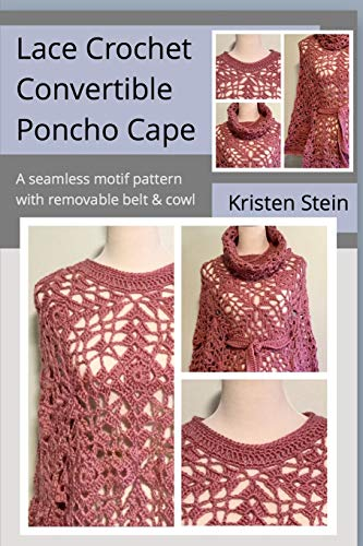 Lace Crochet Convertible Poncho Cape: A seamless motif pattern with removable belt & cowl.