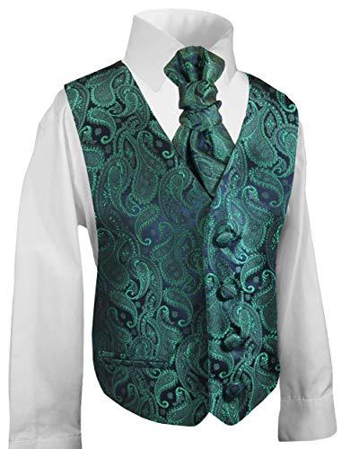 Festliche Kinder Anzug Weste für Jungs 3tlg smaragd grün Paisley + Hemd + Plastron I Hochzeit Kommunion 164 (14 Jahre)