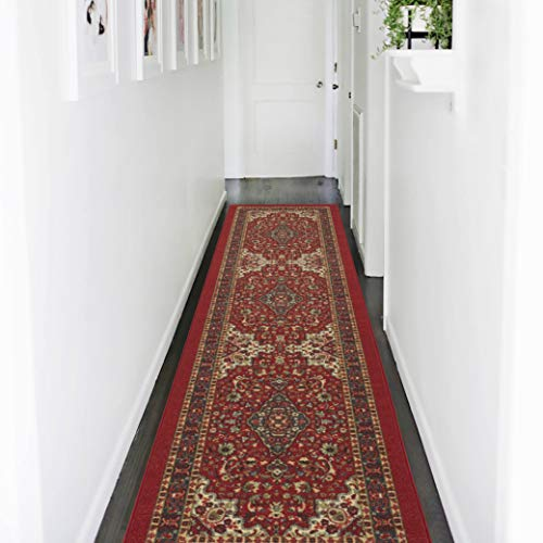 Ottomanson New Collection Persian Ottohome Oriental Runner Rug, 1'10' X 7'0', Red Heriz