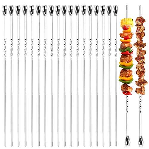 MELARQT Spiedini per barbecue in acciaio inox, 20 pezzi, spiedini lunghi in acciaio inox, per barbecue, spiedini per carne e verdure, pane per griglia