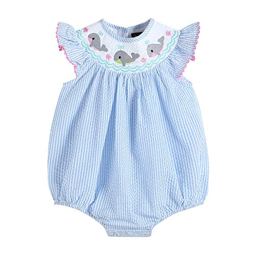 Lil Cactus Baby & Toddler Girls Smocked Flutter Sleeve One Piece Bubble Romper, Blue Seersucker Whale, 2T
