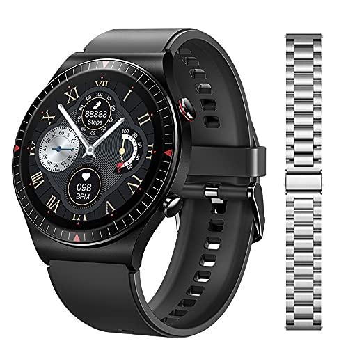 Bluetooth Call T7 Smart Watch Musmusikspelare SmartWatch 2021 IP67 Vattentät röstassistent för Mäns Android Ios, Monsteramy (Color : Add metal silver)