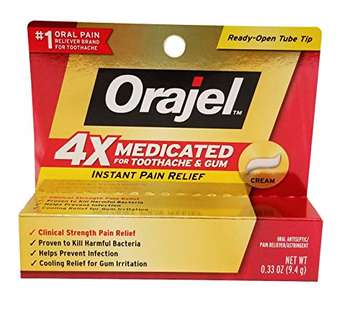 Orajel Instant Pain Relief Toothache/Gum 4X Medicated Cream Each (Value Pack of 4)