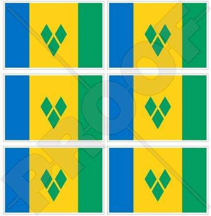 Drapeau Saint Vincent et les Grenadines, Antilles 40 mm (40,6 cm) Téléphone Mobile Mini en vinyle autocollants, Stickers x6