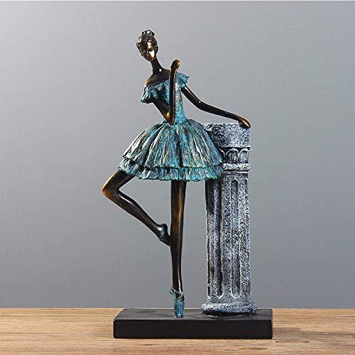 Escultura Estatuilla Ballet Chica Estatua Modelo Danza Chica Pequeñas Artes Chica Ballet Resina Figuras(Mujer y Columna Romana) Obra de Arte para decoración de Sala de...