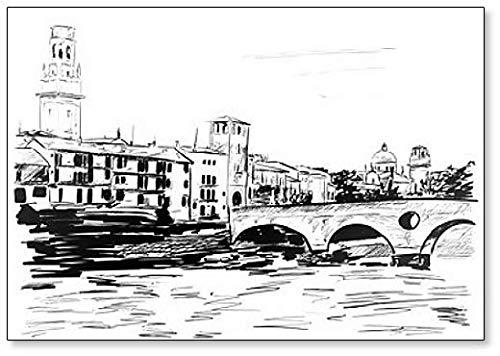 Imán para nevera de Verona, Italia Scetch Illustration