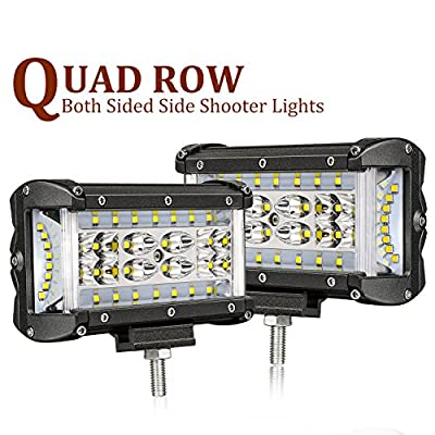 Side Shooters LED Lights, SWATOW 4x4 108W 5 inch Quad Row LED Pods CREE LED Cubes Off Road Spot Flood Combo Work Light Driving Fog Light Bar for Truck ATV SUV UTV Boat(2 Pack)