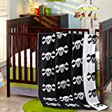 Brandream Throw Blanket Baby Crib Blankets Black and White Designer Pirate Blankets Scull Pattern Decorative Soft Blanket for Couch 35 by 43 Inch