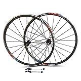 VHHV Bicicleta de Carretera Aleación Juego de Ruedas 700c (V - Freno) 24H Bici Pared Doble Rueda 11 Velocidades Negro