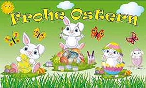 UB Fahne/Flagge Frohe Ostern Hasenkinder Osterfahne 90 cm x 150 cm Neuware!!!
