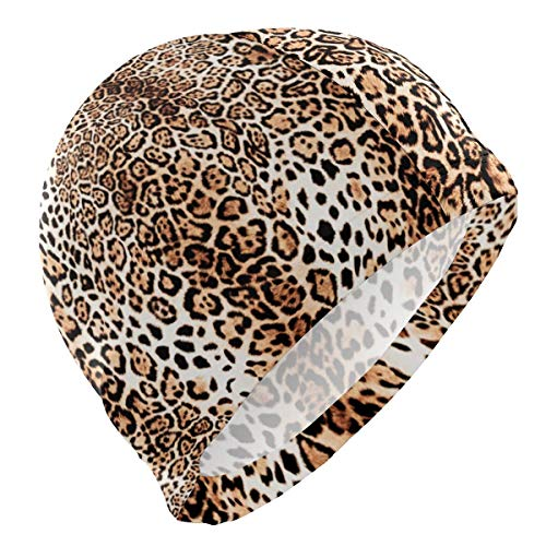 Gebrb Cuffie da Nuoto,Cuffie da Bagno,Cuffia Piscina Swim cap Vintage Leopard Print Pattern Swimming Hat Cover Ears No-Slip Bathing cap for Men