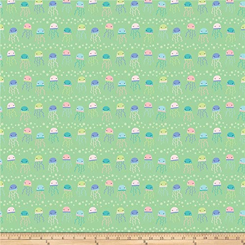 Northcott Mermaid Kitties Jellies Green, Fabric by the Yard