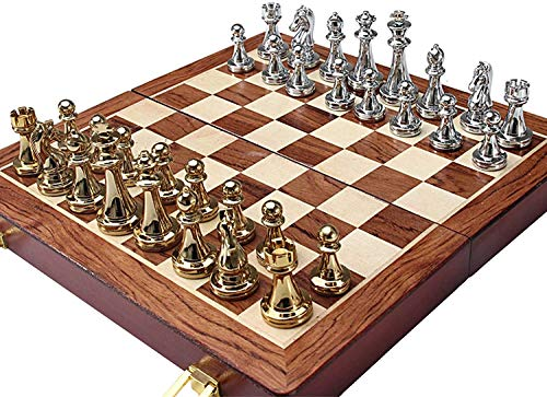 Wooden Chess Set Folding, 3 in 1 Wooden Chess Checkers Backgammon Set with Storage for Pieces - for Adults Beginners and Kids Aged 4+