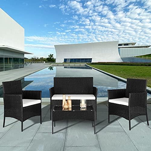 Gartenlounge Set, Rattan Sitzgruppe für 4 Personen Balkonmöbel Set mit Sitzkissen, Gartenmöbel-Set mit 2 Stück Einzelsofa, 1 Stück Doppelsofa und 1 Stück Tisch, Möbelsets für Hinterhof Nachmittagstee - 5