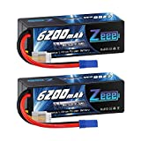 Zeee 14.8V Lipo Battery 80C 6200mAh 4S Hard Case Battery with EC5 Connector for Car Truck Tank RC Buggy Truggy Racing Hobby(2 Packs)
