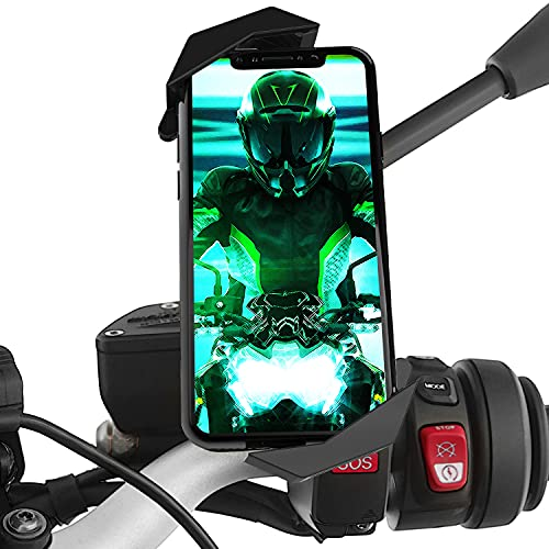 Soporte movil Moto Scooter sujecion a Espejo retrovisor irrompible Valido para telefonos moviles de hasta 7.5