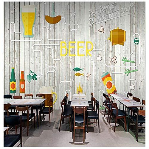 ZXCVWY 3D Murando Fotomurales Vintage Dibujado A Mano Coloridos Vasos De Cerveza Sobre Tabla De Madera 400 X 280 Cm(W*H) Autoadhesivo Fotográfico Papel Pintado Tejido Decoración De Paredes Dormitorio