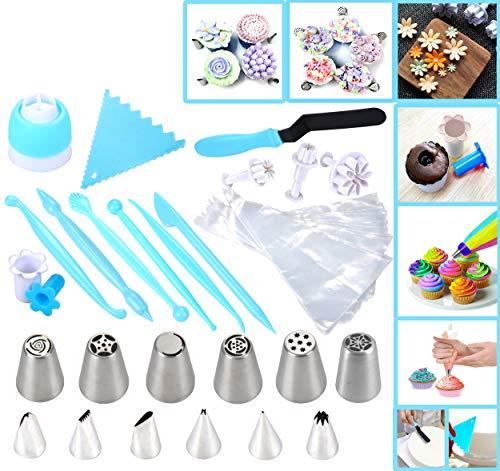 joiedomi 51piezas Kit de decoración de glaseado de tartas y incluye 12puntas de glaseado de acero inoxidable, 25desechables bolsas de decoración, Tri Color acoplador,...