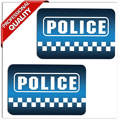 SkinoEu® 2 Stück Vinyl Aufkleber Autoaufkleber Stickers Police Polizei Auto Moto Motorrad Fahrrad Fenster Tür Tuning B 6