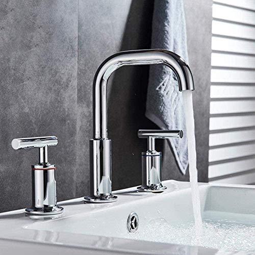 Grifo de lavabo montado en la cubierta de cromo Mezcladores de lavabo de doble manija Ampliado 3 orificios Baño Instalación lateral Grifo de bañera Caño largo