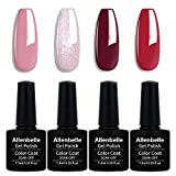 Allenbelle Smalto Semipermanente Nail Polish UV LED Gel Unghie (Kit di 4 pcs 7.3ML/pc) 049