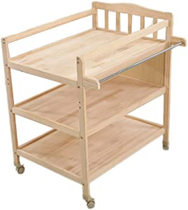 LUCY Baby Changing Unit With Bath Changing Table And Bath The solid wood mobile multi-functional baby care station has clothes rail one side  Can used desk
