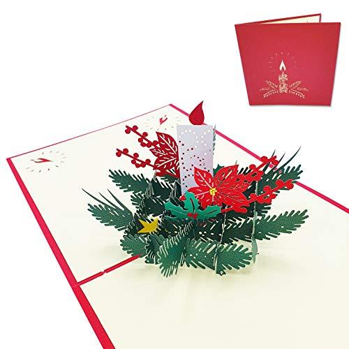 Tarjeta de felicitación navideña 3D - Centro de mesa de vela de Navidad - Postal 3D de Navidad