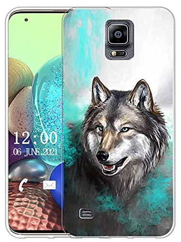 Sunrive Funda Compatible con Samsung Galaxy S5, Silicona Slim Fit Gel Transparente Carcasa Case Bumper de Impactos y Anti-Arañazos Espalda Cover(X Lobo 1)